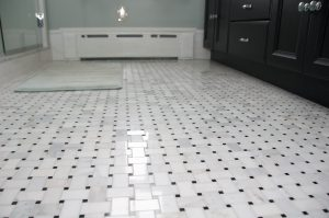 Floor Tiling Contractor with basket weave mosaic