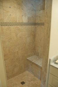 Tiling Contractor for bathroom with glass accents