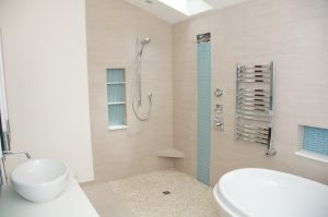 Contractor for curbless shower in bathroom