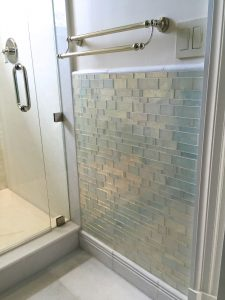 Wainscot Tiling Contractor with glass mosaic